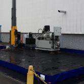 Bac de rétention de grande dimension fabriquée sur mesure pour stockage de machines spéciales sur site industriel (tests prototypes)
