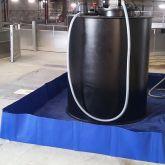 BRSO 4008 SMH - Bac de rétention de 4000 L souple pliable amovible, avec équerres en aluminium, installé en intérieur