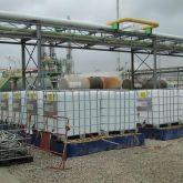 Bacs de rétention souples et pliables pour entreposer plusieurs IBC, cubitainers. Zone de stockage permanent en extérieur