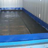 Installation de 3 bandes de roulement en caoutchouc haute densité utilisées comme tapis de protection