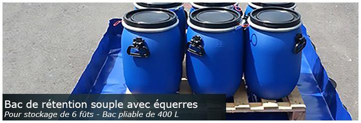 Bac de rétention souple, pliable et amovible avec équerres pour stockage de fûts
